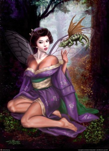 Geisha Faerie and Orson the Dragon