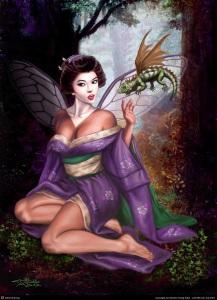 Geisha Faerie and Orson the Dragon