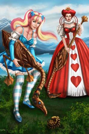 Sandra Chang-Adair's Steampunk Gothic Lolita Alice and the Queen of Hearts Playing Croquet with metal flamingos
