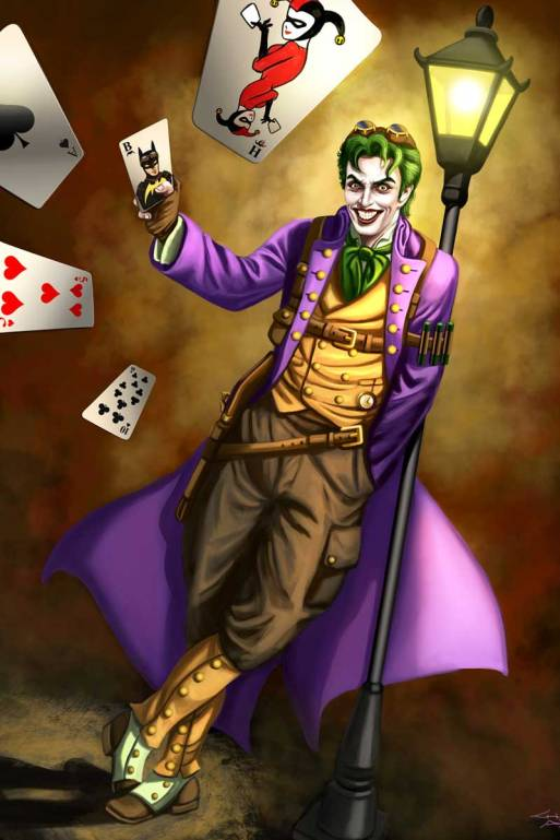 Watch out Batman! Steampunk Joker has your card in his deck and is about to cause you mischief! Art by Sandra Chang-Adair