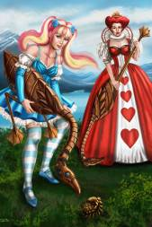 Steampunk Gothic Lolita Alice and the Red Queen by Sandra Chang-Adair features Alice and the Queen of hearts in a Croquet game with mechanical swan mallets and a mechanical hedgehog rolling ball.