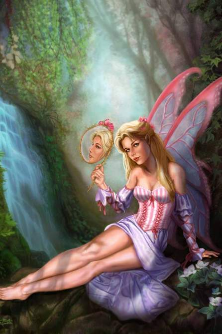 This magical painting of Pink Fairy Primping was published in Heavy Metal and SQP Books: Steampunk Rising: the Art of Sandra Chang-Adair. It is the first fairy Sandra ever painted and depicts a blonde fairy looking into a mirror by a waterfall in a forest. In the reflection, her eyes are looking elsewhere; an idea by Sandra's husband.