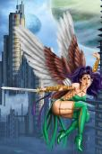 Future City Sexy Winged Flying Girl Pinup by Sandra Chang-Adair. Purple haired female angel brandishes her straight sword, as she flies high above the futuristic architecture of a cloud city.