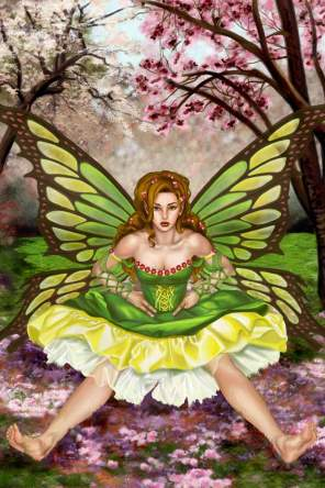 This fairy with green butterfly wings sits in an orchard and stares defiantly at the viewer. She's definitely up to some mischief! This painting was published in Heavy Metal and Steampunk Rising: The Art of Sandra Chang-Adair (by SQP Books).