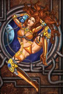 Hustler 2009 Space Girl Pinup by Sandra Chang. This is the very first pinup created for Hustler Magazine. Of course it is censored for my blog...lol. A sexy red-haired spacegirl and her trusty robot companion float in front of a window on a spaceship.