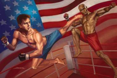 Published in Inside Kung Fu Magazine, Sandra depicts a fight during the UFC. The likenesses of the combatants are Russell Crow and Taye Diggs.