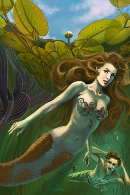 The Little Mermaid and the Prince swim beneath giant Lily Pads in this romantic painting created for SQP Books: Steampunk Rising: the Art of Sandra Chang-Adair. The likeness of the mermaid is based on Maureen O'Hara and the Prince is based on Errol Flynn. Both appeared in a pirate movie called Against All Flags.