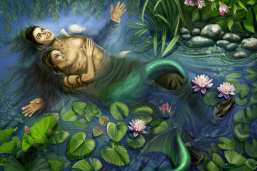 Michael Jackson is one of Sandra's beloved idols. She depicts him in a lily pond, inspired the PreRapahelites' Ophelia painting by John Everett Millais. Water symbolizes rebirth and among the lily pads, is LIsa Marie as a mermaid.