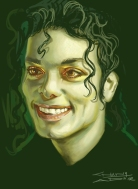 Subsurface scattering experiment with strange, unearthly colors. Trying to show the thinning of the skin near the eyes and nose of Michael Jackson.