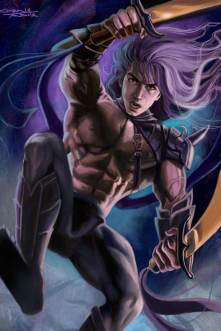 Purple Haired Muscled Hero with Double Broad Swords by Sandra Chang-Adair was published in Fantasy Art Magazine in a tutorial about painting muscles.