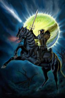 Metal Knight CD Cover by Sandra Chang-Adair was commissioned by Sandra's friend, Robbie Robfogel, otherwise known as Razor. It features an evil knight on a black demon horse in front of a green planet.