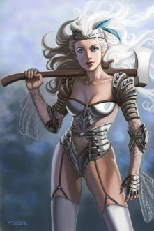 Sexy Steampunk Tin Woman Wizard of Oz by Sandra Chang-Adair. In a role reversal, the Tin Man is depicted as a female. Resembling a white-haired Valkyrie from Norse legend, the Tin Woman needs no heart from the Wizard to represent love or loyalty.