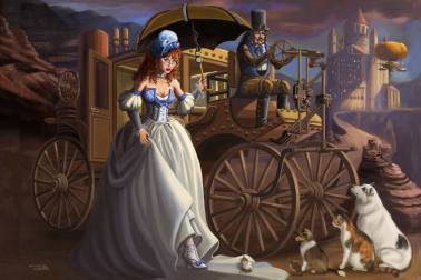 A spectacle-wearing, red-haired Cinderella prepares to attend the Steampunk Ball. She is alighting her mechanical carriage and saying goodbye to her animal companions (Ripley the Sheltie and Freckles the Aussie, Sandra's dogs) are present. In the background the castle is lit by the setting sun as an airship arrives, bearing other guests