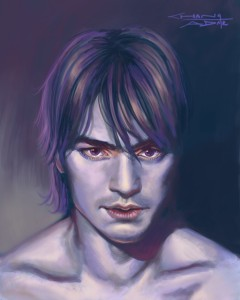 Subsurface scattering experiment with strange, unearthly colors. Trying to show the thinning of the skin near the eyes and nose of Takeshi Kaneshiro.