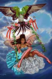 This whimsical painting by Sandra is influenced by the Boudoir Rococo paintings by François Boucher. A beautiful, sexy, African American fairy with a Marie Antoinette coiffure, rides a vine covered swing. The swing is kept aloft by a parrot, but she also has her own butterfly wings to help the bird along.